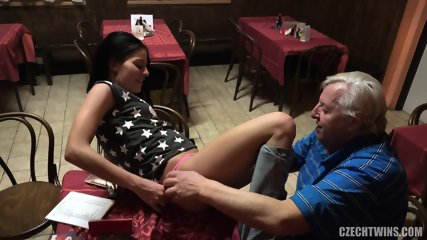Horny Babe And Old Guy - Eveline Dellai